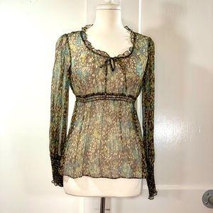 Nanette Lepore sheer chiffon empire waist blouse